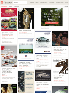 Photo of an ISSUU front end search for Auctions